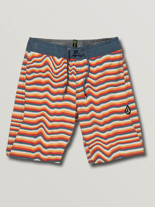 Big Boys Aura Boardshorts In Yellow Orange, Front View