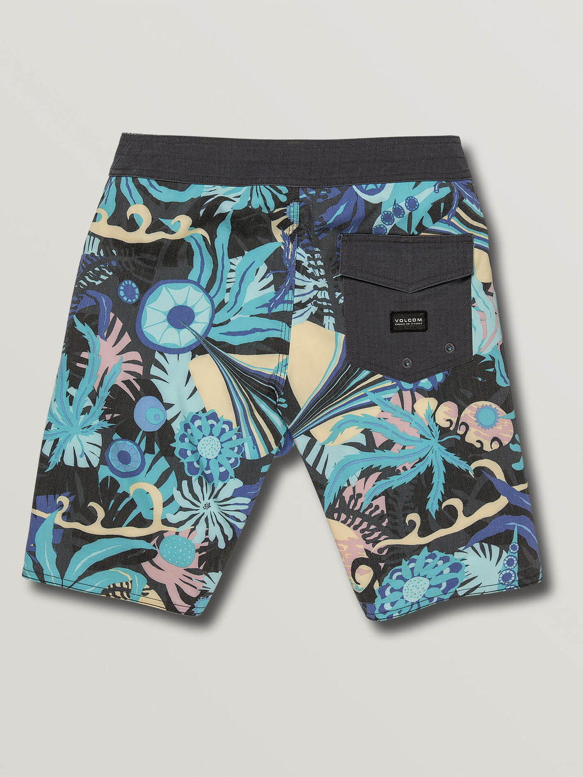 Big Boys Tripped Boardshorts In Black, Back View