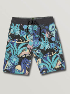 Big Boys Tripped Boardshorts In Black, Front View