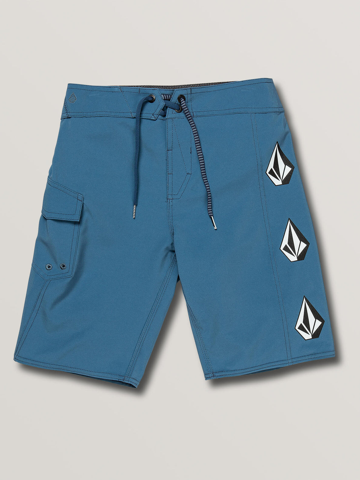 Big Boys Deadly Stones Mod Boardshorts In Airforce Blue, Front View