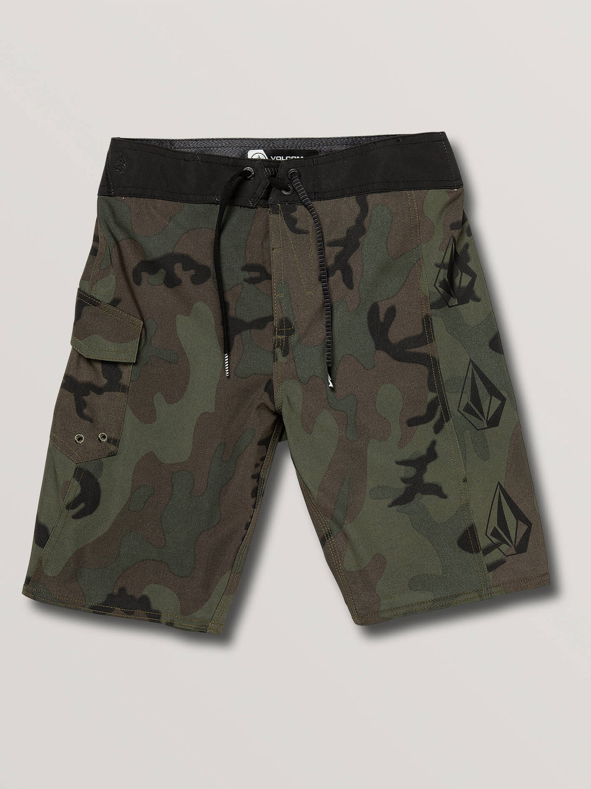 Big Boys Deadly Stones Mod Boardshorts In Camouflage, Front View