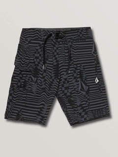 Big Boys Logo Shifter Mod Boardshorts In Asphalt Black, Front View