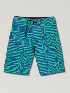 Big Boys Logo Shifter Mod Boardshorts In Wintergreen, Front View