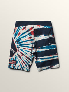 Big Boys Peace Stone Mod Boardshorts In True Blue, Front View
