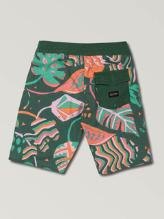 Big Boys Scrap Boardshorts In Cedar Green, Back View