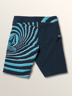 Big Boys Lido Block Mod Boardshorts In Melindigo, Back View
