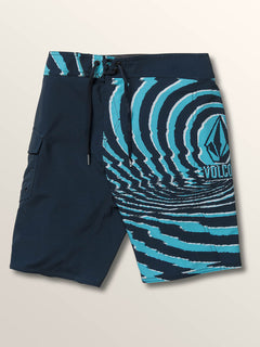 Big Boys Lido Block Mod Boardshorts In Melindigo, Front View
