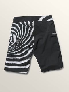 Big Boys Lido Block Mod Boardshorts In New Black, Back View