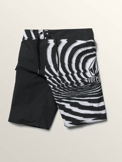 Big Boys Lido Block Mod Boardshorts In New Black, Front View