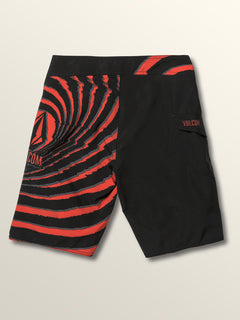 Big Boys Lido Block Mod Boardshorts In Why Rock Red, Back View