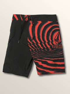 Big Boys Lido Block Mod Boardshorts In Why Rock Red, Front View
