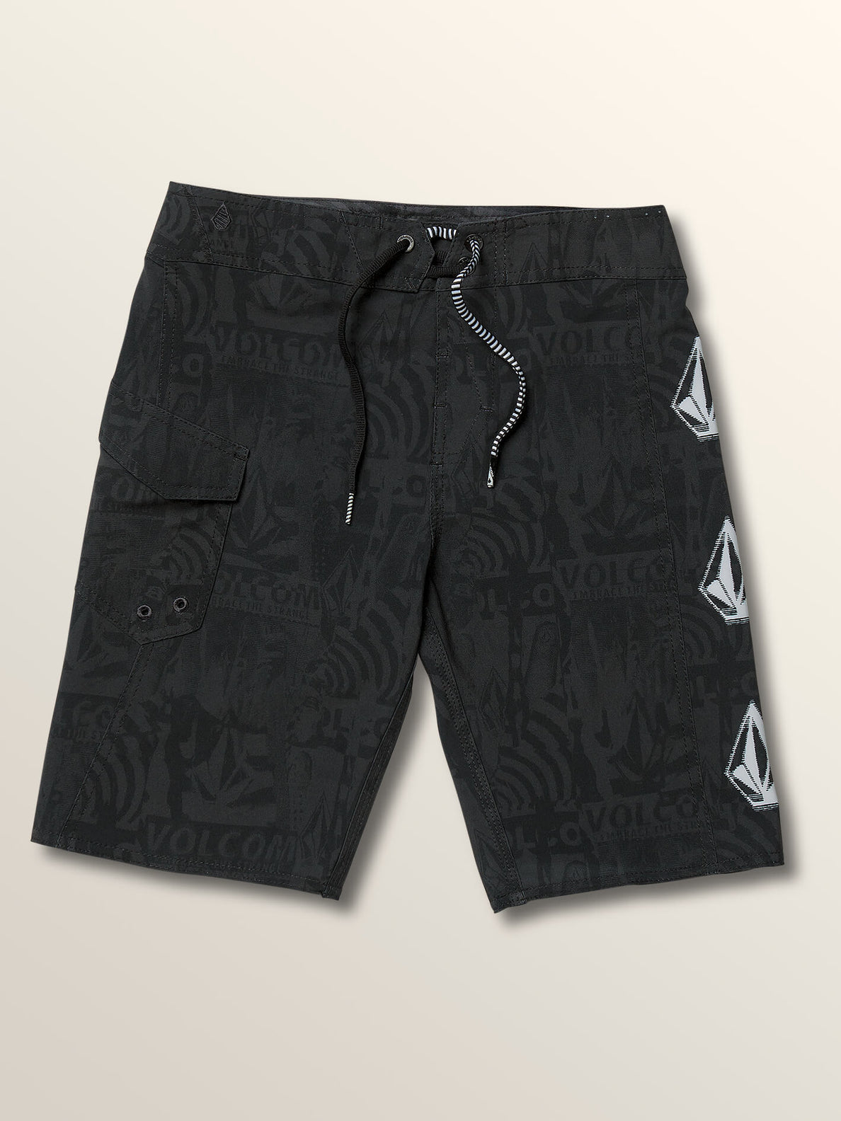 Big Boys Deadly Stones Mod Boardshorts In Black, Front View
