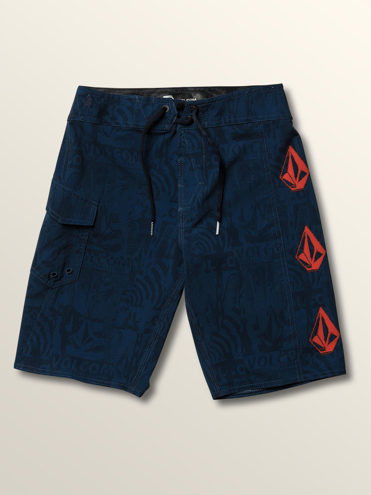 Big Boys Deadly Stones Mod Boardshorts In Melindigo, Front View