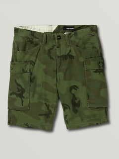 Big Boys Gritter Cargo Shorts In Camouflage, Front View