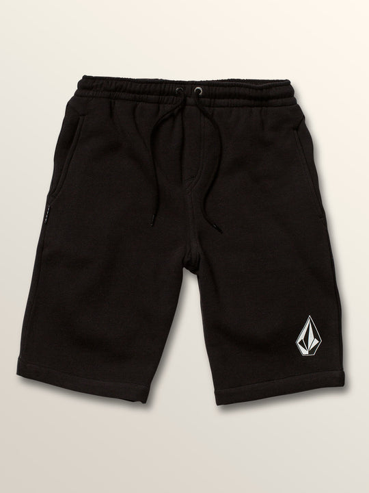 Big Boys Deadly Stones Fleece Shorts In Black, Front View