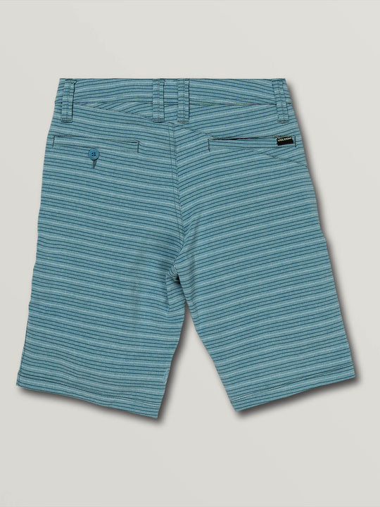 Big Boys Frickin Surf N' Turf Mix Hybrid Shorts In Vintage Blue, Back View