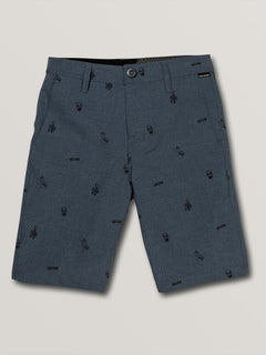 Big Boys Frickin Surf N' Turf Printed Hybrid Shorts In Deep Blue, Front View