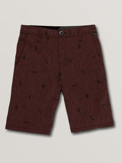Big Boys Frickin Surf N' Turf Printed Hybrid Shorts In Wine, Front View