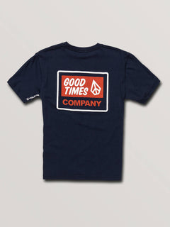 Big Boys Volcom Is Good Short Sleeve Tee In Navy, Back View