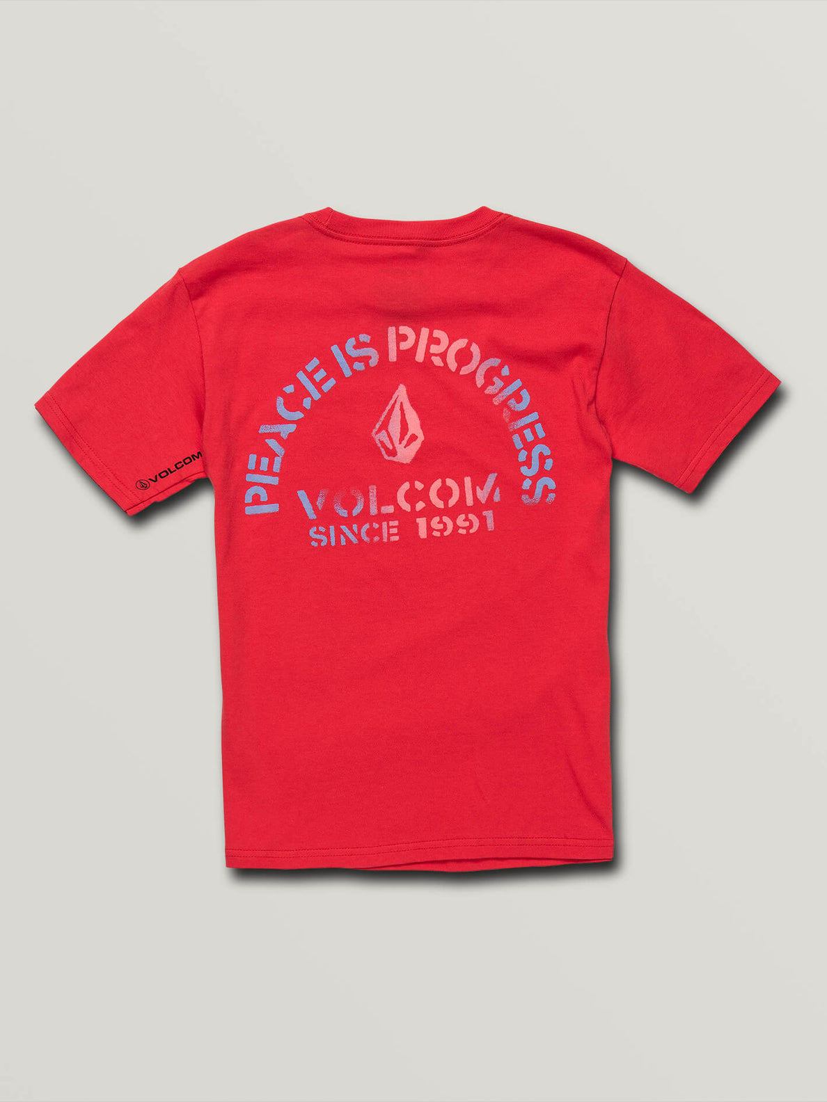 Big Boys Peace Is Progress Short Sleeve Tee In True Red, Back View