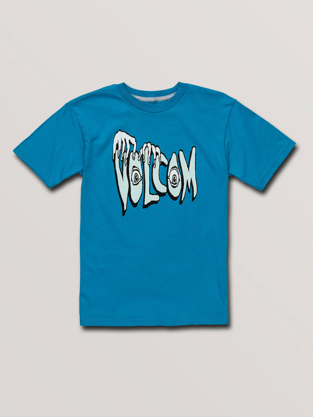 Big Boys Volcom Panic Short Sleeve Tee In Bright Blue, Front View