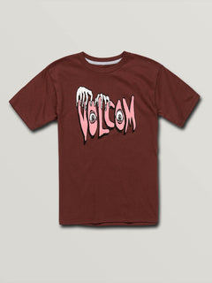 Big Boys Volcom Panic Short Sleeve Tee In Pomegranate, Front View