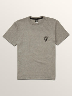 Big Boys Cut Out Short Sleeve Tee In Heather Grey, Front View