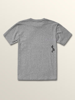 Big Boys Stone Spew Short Sleeve Tee In Heather Grey, Back View