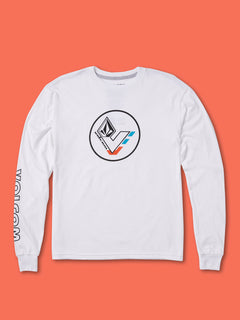 Big Boys V-Line Long Sleeve Basic Tee - White