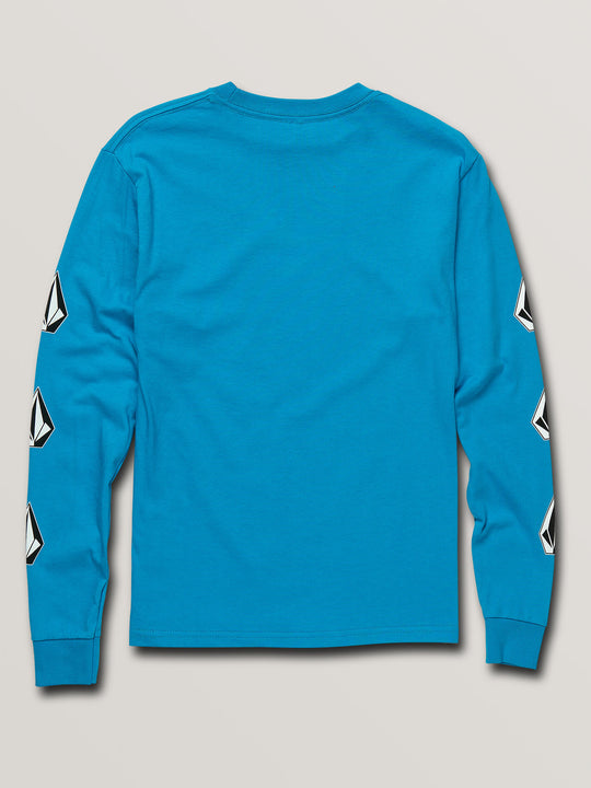 Big Boys Deadly Stones Long Sleeve Tee In Bright Blue, Back View