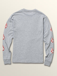 Big Boys Deadly Stones Long Sleeve Tee In Heather Grey, Back View