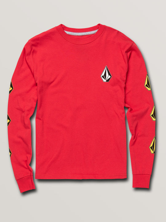 Big Boys Deadly Stones Long Sleeve Tee In Red, Front View