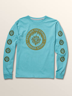 Big Boys Hot Visions Long Sleeve Tee In Blue Bird, Front View