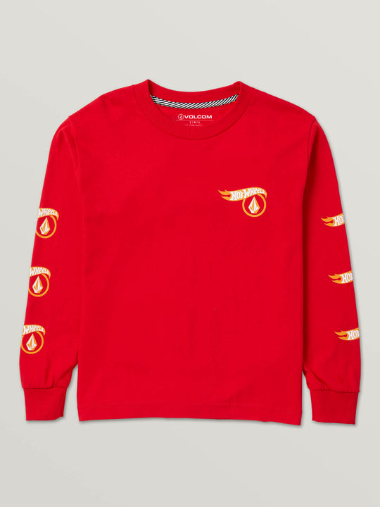 Big Boys Hot Wheels'Ñ¢ X Volcom Long Sleeve Tee In Red, Front View