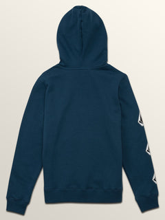 Big Boys Deadly Stones Pullover Hoodie In Navy Green, Back View