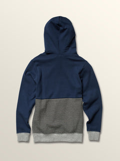 Big Boys Maddock Pullover Hoodie In Snow Vintage Navy, Back View