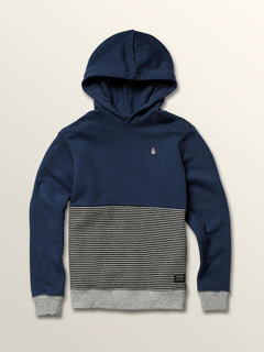Big Boys Maddock Pullover Hoodie In Snow Vintage Navy, Front View