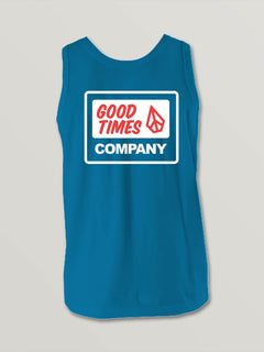 Big Boys Volcom Is Fun Tank In Bright Blue, Back View
