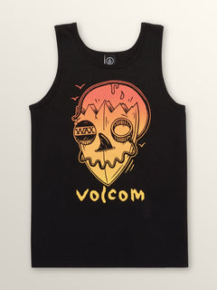 Big Boys Surf Skull Tank In Black, Front View