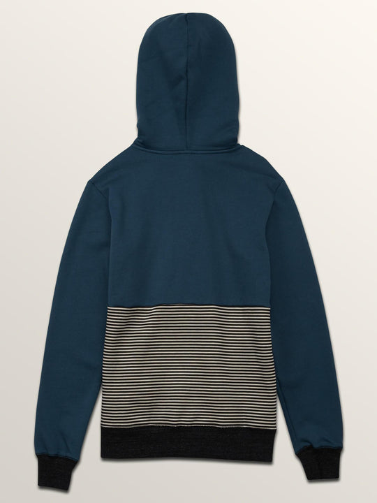Big Boys Threezy Zip Hoodie In Navy Green, Back View