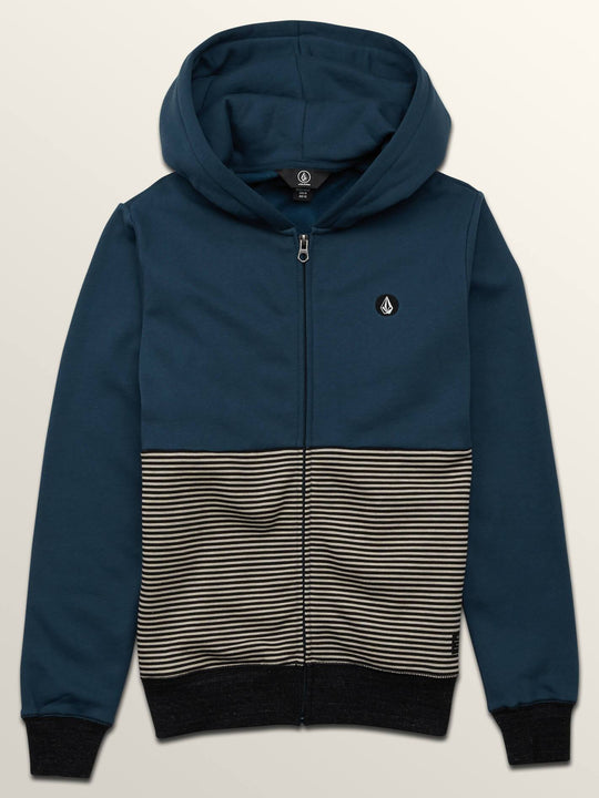 Big Boys Threezy Zip Hoodie In Navy Green, Front View
