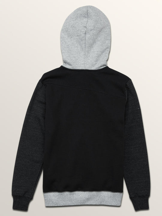 Big Boys Single Stone Colorblock Zip Hoodie In Black, Back View