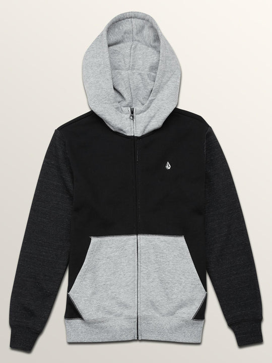 Big Boys Single Stone Colorblock Zip Hoodie In Black, Front View