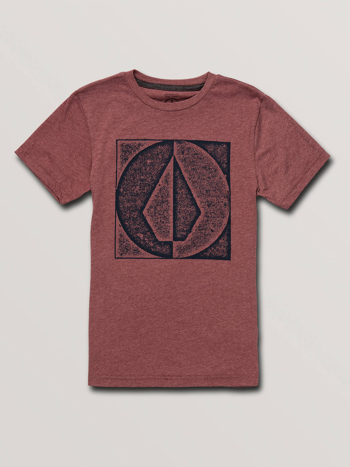 Big Boys Stamp Divide Short Sleeve Tee In Crimson, Front View