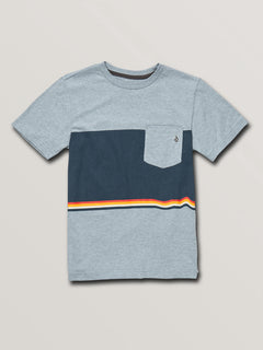 Big Boys 3 Quarter Short Sleeve Pocket Tee In Arctic Blue, Front View