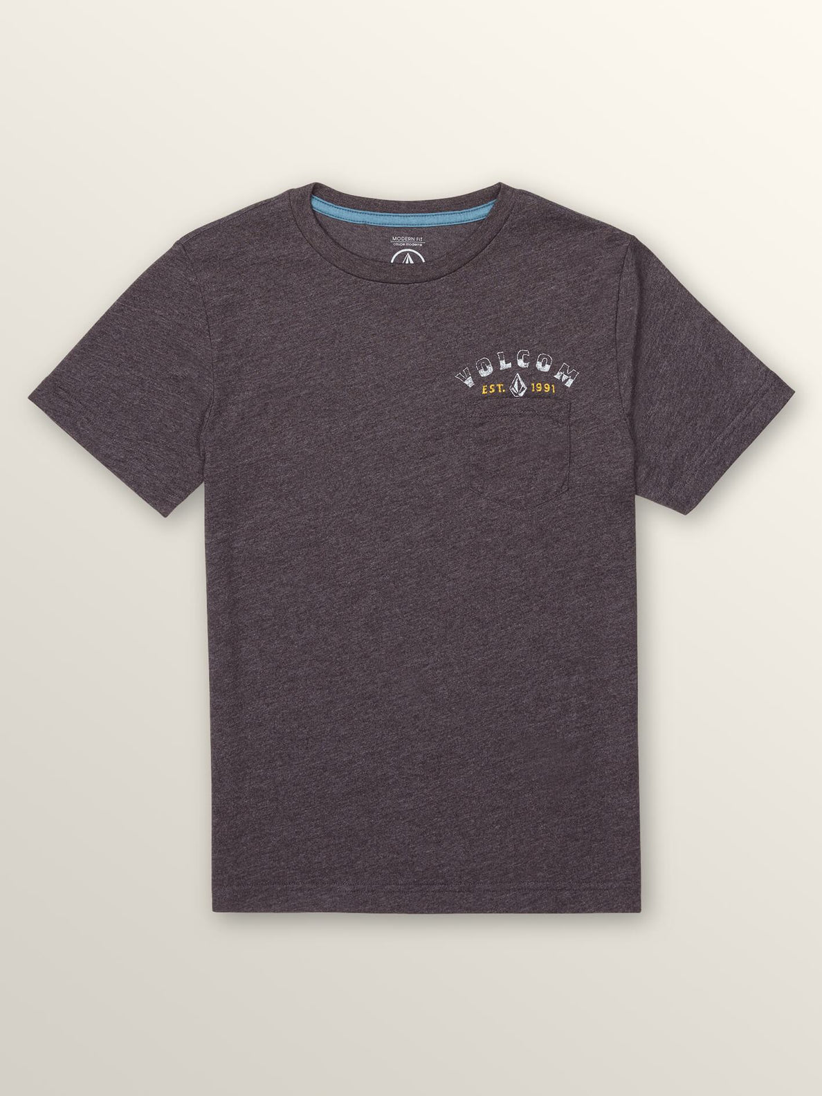 Big Boys Signer Short Sleeve Pocket Tee In Heather Black, Front View