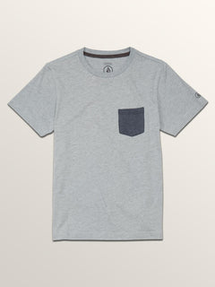 Big Boys Heather Pocket Short Sleeve Tee In Arctic Blue, Front View