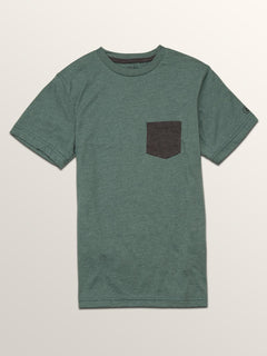 Big Boys Heather Pocket Short Sleeve Tee In Pine, Front View