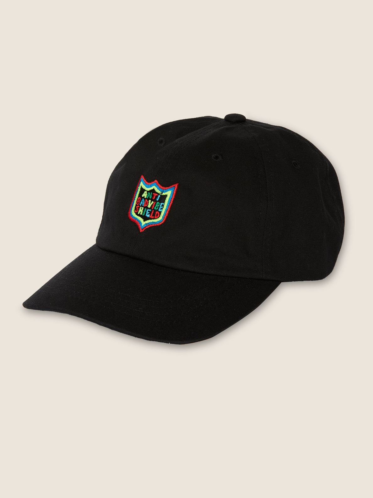 New Shield Dad Hat In Black, Front View