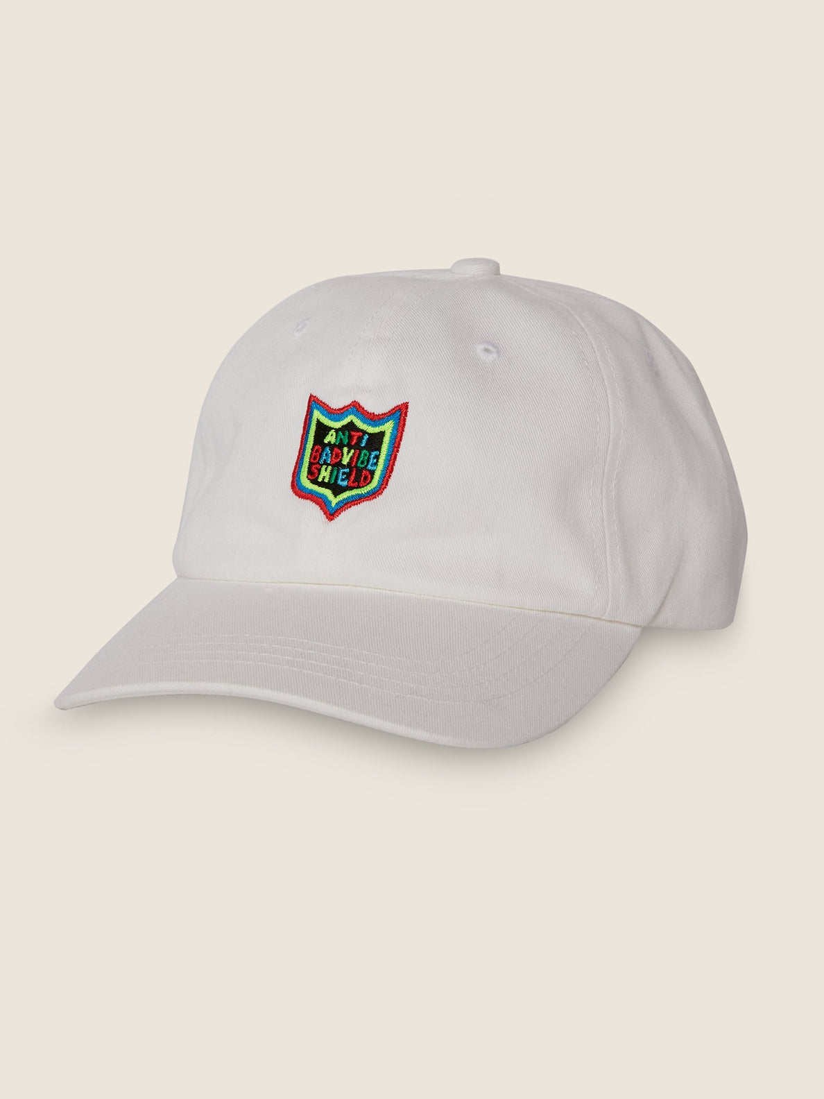 New Shield Dad Hat In White, Front View